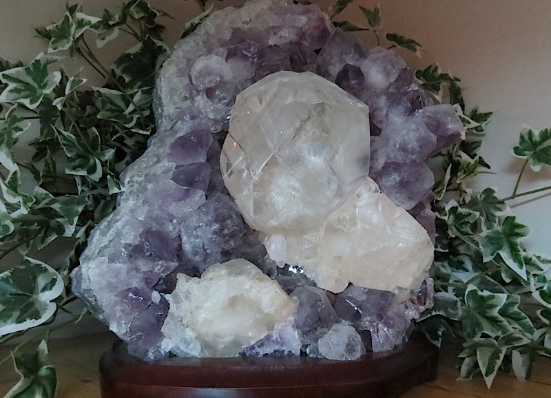 webXtra Large Calcite Crystal On Amethyst 20.0 Kilo Minas Gerais, Brazil